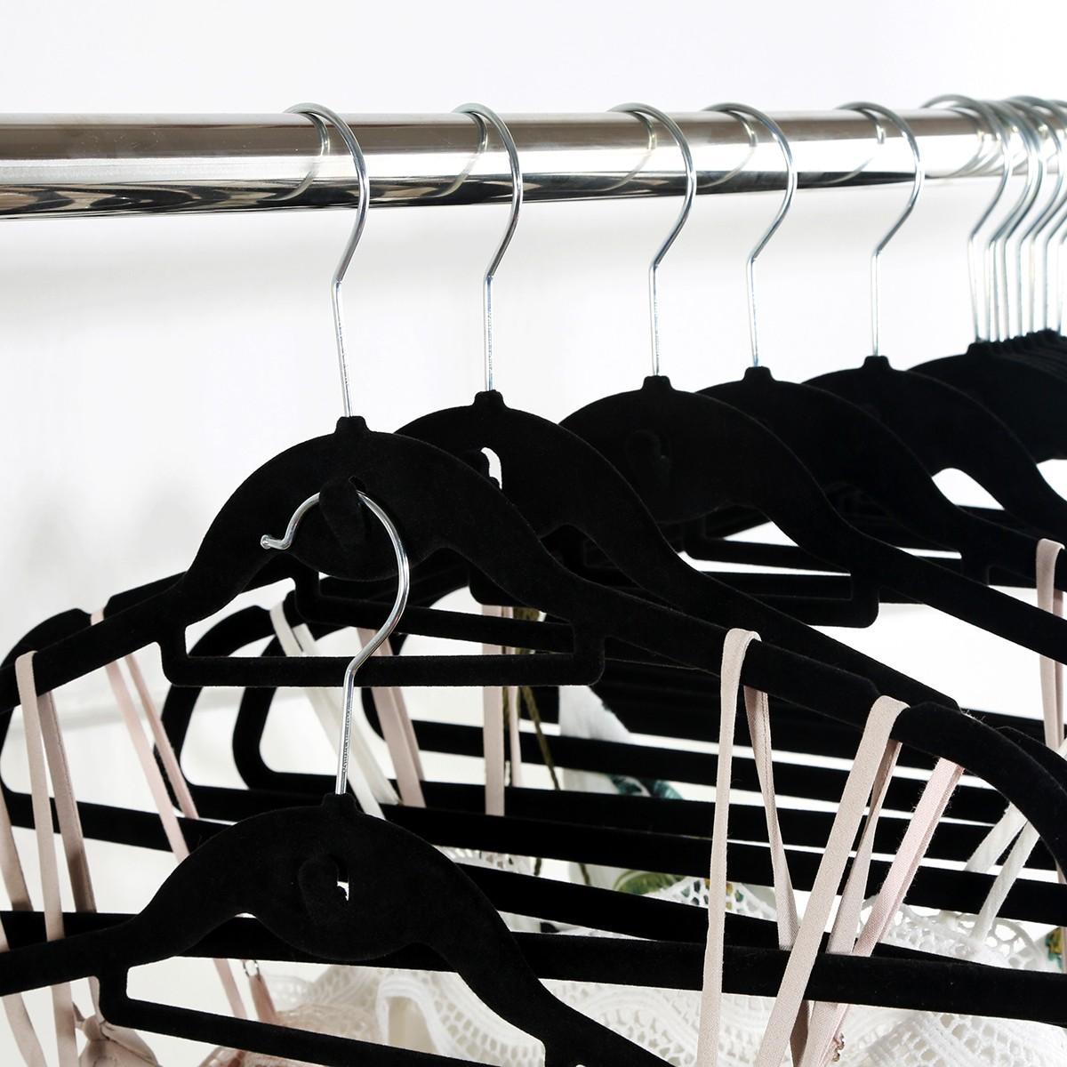 120pcs Coat Hangers Clothes Pants Closet Velvet Nonslip Space Saving Thin Black